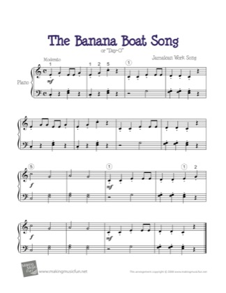 Thumbnail of first page of Banana Boat Song piano sheet music PDF by Kids.