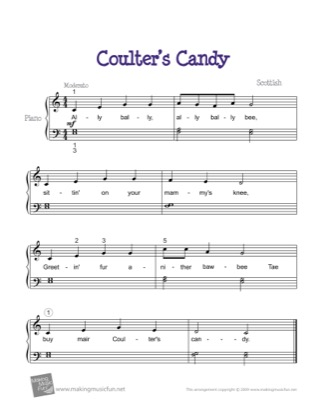 Thumbnail of first page of Coulter's Candy piano sheet music PDF by Kids.