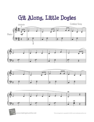 Thumbnail of first page of Git Along, Little Dogies (Whoopie Ti Yi Yo) piano sheet music PDF by Kids.