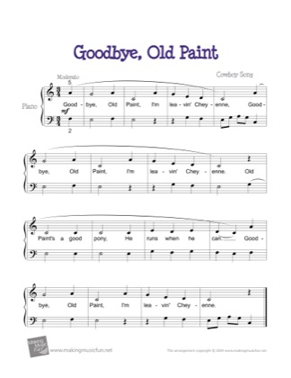 Thumbnail of first page of Goodbye, Old Paint piano sheet music PDF by Kids.