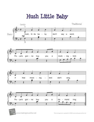 Thumbnail of first page of Hush Little Baby piano sheet music PDF by Kids.