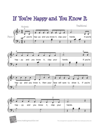 Thumbnail of first page of If You're Happy and You Know It piano sheet music PDF by Traditional.
