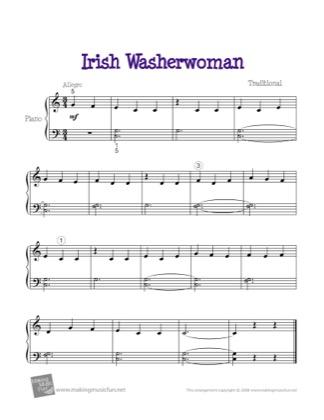 Thumbnail of first page of Irish Washerwoman piano sheet music PDF by Kids.