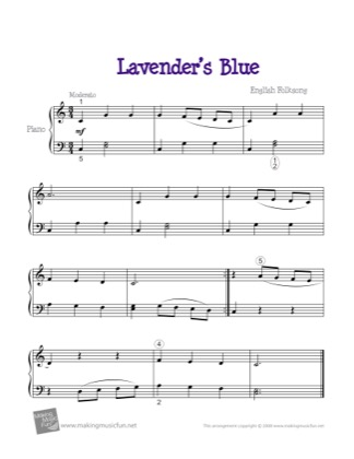 Thumbnail of first page of Lavender's Blue piano sheet music PDF by Kids.