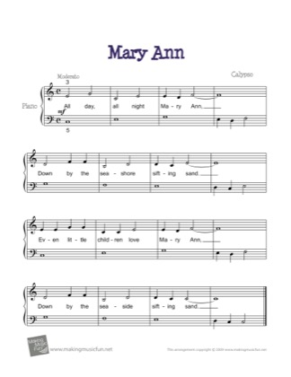 Thumbnail of first page of Mary Ann piano sheet music PDF by Kids.