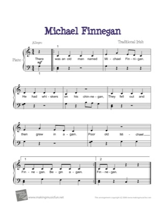 Thumbnail of first page of Michael Finnegan piano sheet music PDF by Kids.