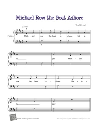 Thumbnail of first page of Michael Row the Boat Ashore piano sheet music PDF by Kids.