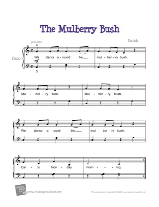 Thumbnail of first page of The Mulberry Bush piano sheet music PDF by Kids.