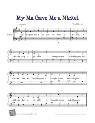 Thumbnail of first page of My Ma Gave Me a Nickel piano sheet music PDF by Kids.