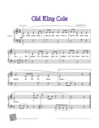 Thumbnail of first page of Old King Cole piano sheet music PDF by Kids.