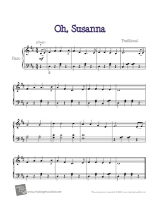 Thumbnail of first page of Oh, Susanna piano sheet music PDF by Kids.
