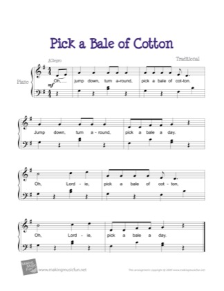 Thumbnail of first page of Pick a Bale of Cotton piano sheet music PDF by Kids.