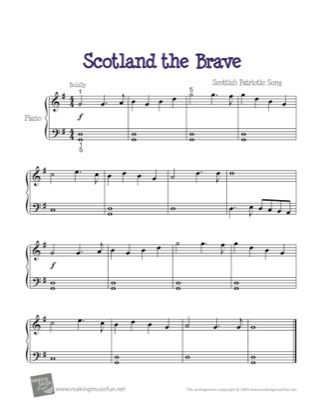 Thumbnail of first page of Scotland the Brave piano sheet music PDF by Kids.