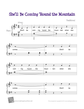 Thumbnail of first page of She'll Be Coming 'Round the Mountian piano sheet music PDF by Kids.