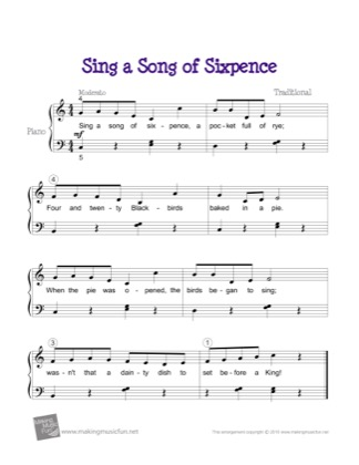 Thumbnail of first page of Sing a Song of Sixpence piano sheet music PDF by Kids.