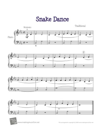 Thumbnail of first page of Snake Dance piano sheet music PDF by Kids.