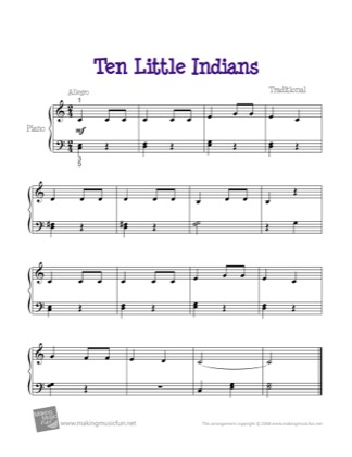 Thumbnail of first page of Ten Little Indians piano sheet music PDF by Kids.