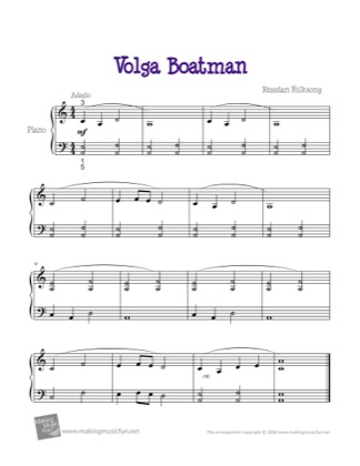 Thumbnail of first page of Volga Boatman piano sheet music PDF by Kids.