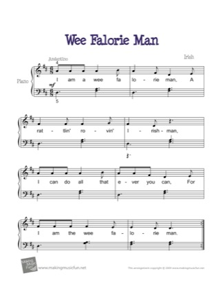 Thumbnail of first page of Wee Falorie Man piano sheet music PDF by Kids.