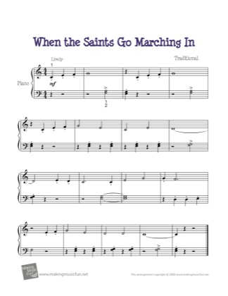 When The Saints Go Marching In By Kids Piano Sheet Music Sheetdownload