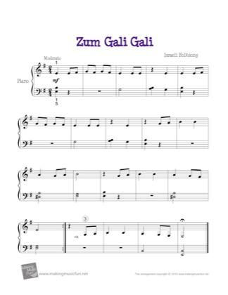 Thumbnail of first page of Zum Gali Gali piano sheet music PDF by Kids.