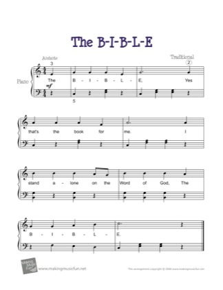 Thumbnail of first page of The B-I-B-L-E piano sheet music PDF by Kids.