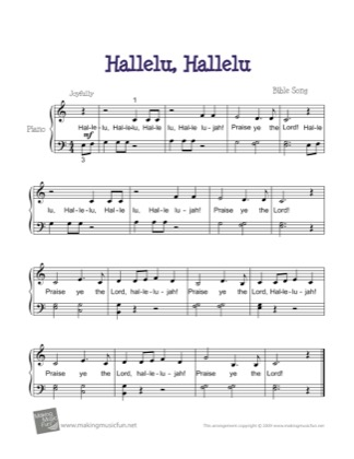 Print and download for free: Hallelu, Hallelu piano sheet music by Kids.