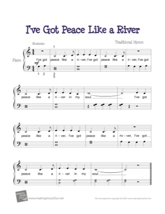 Thumbnail of first page of I've Got Peace Like a River piano sheet music PDF by Kids.