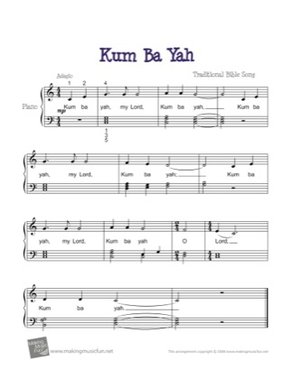 Thumbnail of first page of Kum Ba Yah piano sheet music PDF by Kids.