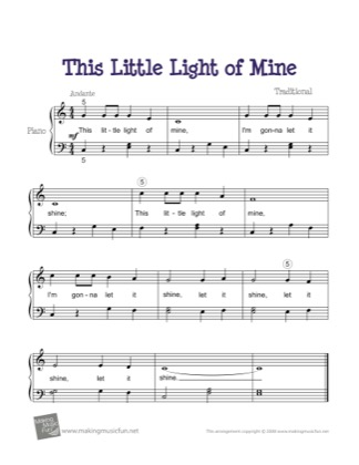 Thumbnail of first page of This Little Light of Mine piano sheet music PDF by Kids.