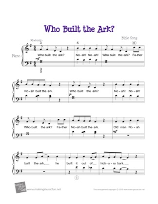 Thumbnail of first page of Who Built the Ark? piano sheet music PDF by Kids.