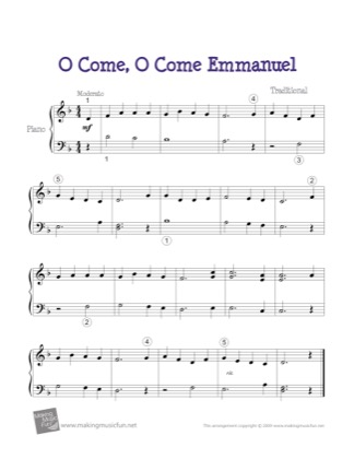 Thumbnail of first page of O Come, O Come Emmanuel piano sheet music PDF by Christmas.