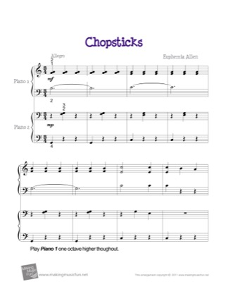 Thumbnail of first page of Chopsticks piano sheet music PDF by Euphemia Allen.