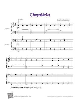 Thumbnail of first page of Chopsticks (Duet) piano sheet music PDF by Euphemia Allen.