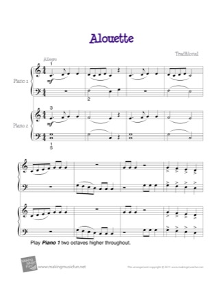 Thumbnail of first page of Alouette piano sheet music PDF by Kids.