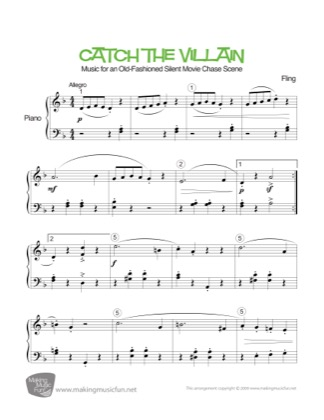 Thumbnail of first page of Catch the Villain piano sheet music PDF by Kids.