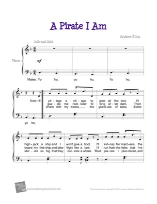 Thumbnail of first page of A Pirate I Am piano sheet music PDF by Andrew Fling.