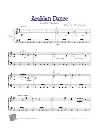 Thumbnail of first page of Arabian Dance (Nutcracker) piano sheet music PDF by The Nutcracker.