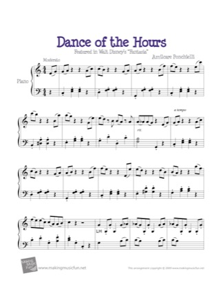Print and download for free: Dance of the Hours piano sheet music by Fantasia.