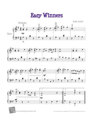 Thumbnail of first page of Easy Winners piano sheet music PDF by Kids.