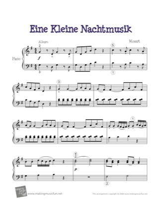 Thumbnail of first page of Eine Kleine Nachtmusik piano sheet music PDF by Mozart.