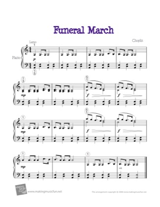 Thumbnail of first page of Funeral March piano sheet music PDF by Kids.
