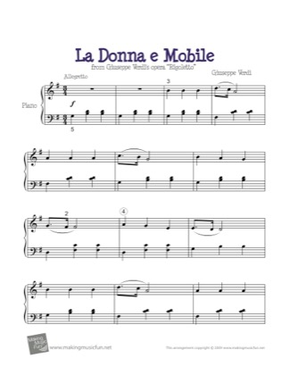 Thumbnail of first page of La Donna e Mobile piano sheet music PDF by Kids.