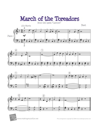 Thumbnail of first page of March of the Toreadors piano sheet music PDF by Carmen.