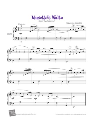Thumbnail of first page of Musette's Waltz piano sheet music PDF by La Boheme.