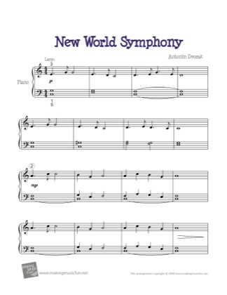 Thumbnail of first page of New World Symphony (Largo) piano sheet music PDF by Kids.