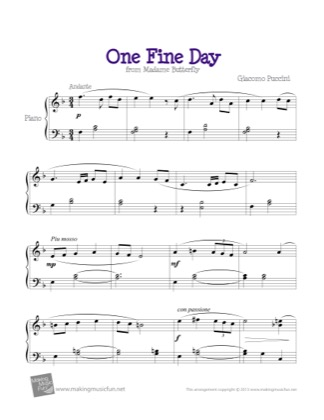 Thumbnail of first page of One Fine Day (Madame Butterfly) piano sheet music PDF by Kids.