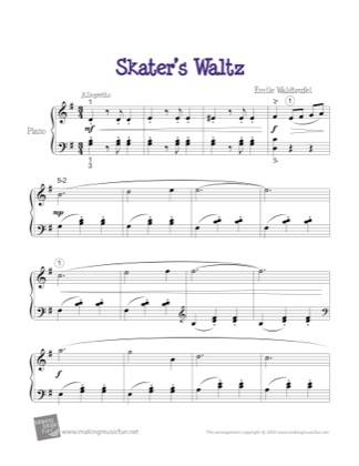 Thumbnail of first page of Skater's Waltz piano sheet music PDF by Emile Waldteufel.