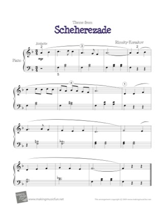 Thumbnail of first page of Scheherezade (Theme) piano sheet music PDF by Kids.