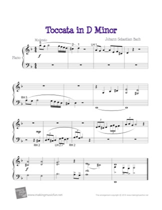 Thumbnail of first page of Toccata in D Minor (Kids) piano sheet music PDF by Bach.